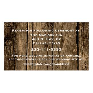 Tarjeta de madera rústica del recinto del boda tarjetas de visita