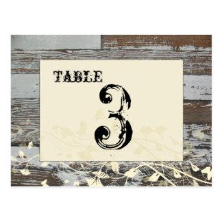Tarjeta de madera vieja del número de la tabla (cr tarjetas postales