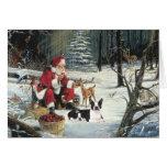 Tarjeta de maderas de Santa del navidad de Boston