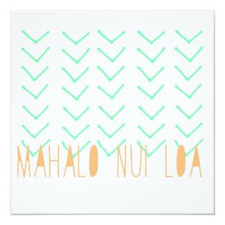 """Tarjeta de Mahalo Nui Loa Invitación 5.25"""" X 5.25"""""""