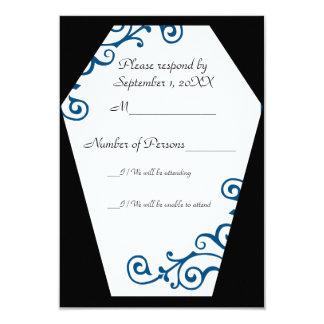 "Tarjeta de marfil de Keranda RSVP (azul) Invitación 3.5"" X 5"""