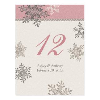 Tarjeta de marfil rosada de la tabla del boda del postales