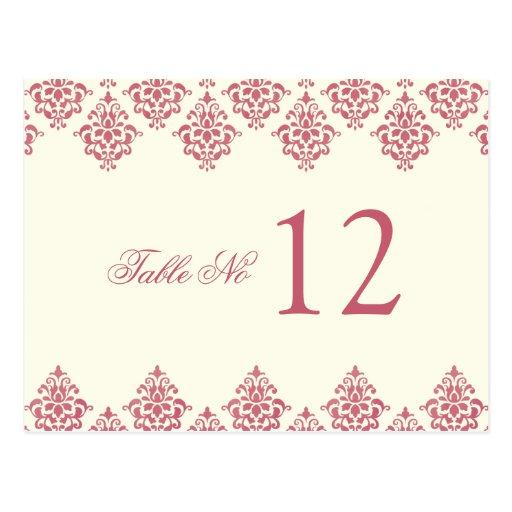 Tarjeta de marfil rosada del número de la tabla de postal