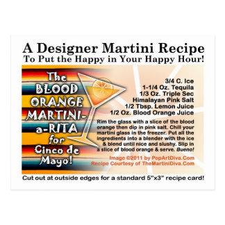 Tarjeta de Martini Margarita de la naranja de sang Postal