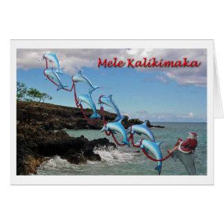 Tarjeta de Mele Kalikimaka de Santa y de los delfí