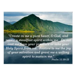 Tarjeta de memoria de la escritura del salmo 51 10 postal