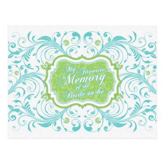 Tarjeta de memoria floral del verde azul para la n
