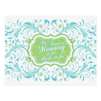 Tarjeta de memoria floral del verde azul para la postales