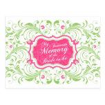 Tarjeta de memoria floral verde rosada para la nov tarjetas postales