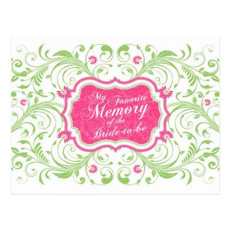 Tarjeta de memoria floral verde rosada para la tarjeta postal