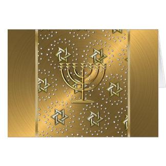 Tarjeta de Menorah Jánuca del oro