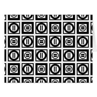 Tarjeta de modelo geométrica blanco y negro del tarjeta de felicitación grande