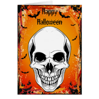 Tarjeta de mueca malvada de Halloween del cráneo y