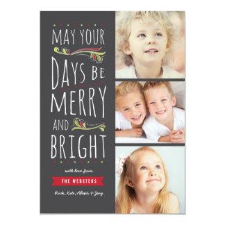 """Tarjeta de Navidad 3 feliz y brillante imaginaria Invitación 5"""" X 7"""""""