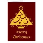 Tarjeta de Navidad adornada de oro del árbol de na