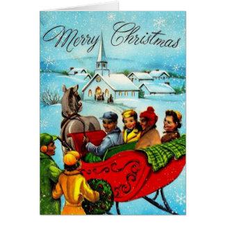Tarjeta de Navidad afroamericana del vintage