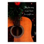 Tarjeta de Navidad alegre de la guitarra acústica