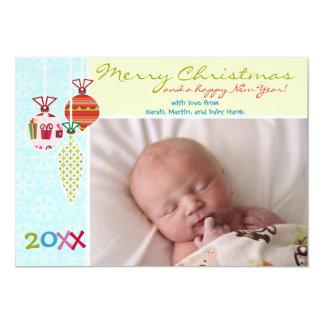 """Tarjeta de Navidad alegre de los ornamentos Invitación 5"""" X 7"""""""