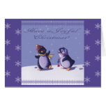 Tarjeta de Navidad alegre de los pingüinos