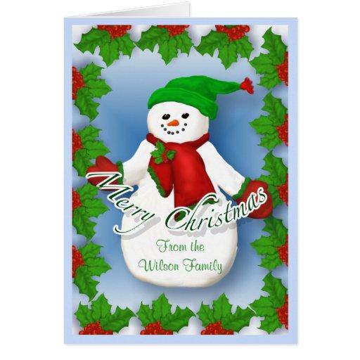 Tarjeta de Navidad alegre del muñeco de nieve