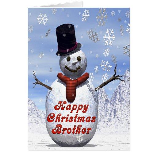 Tarjeta de Navidad alegre del muñeco de nieve para
