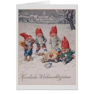 Tarjeta de Navidad alemana de los enanos del