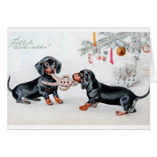 Tarjeta de Navidad alemana del Dachshund del vinta