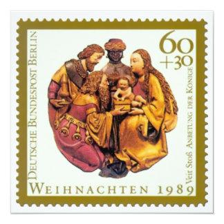 """Tarjeta de Navidad alemana del sello: Adoración de Invitación 5.25"""" X 5.25"""""""