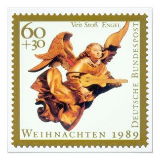 """Tarjeta de Navidad alemana del sello: Ángel con el Invitación 5.25"""" X 5.25"""""""