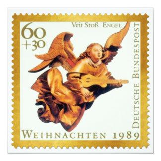 """Tarjeta de Navidad alemana del sello del oro: Invitación 5.25"""" X 5.25"""""""