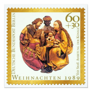 """Tarjeta de Navidad alemana del sello del oro: Unos Invitación 5.25"""" X 5.25"""""""