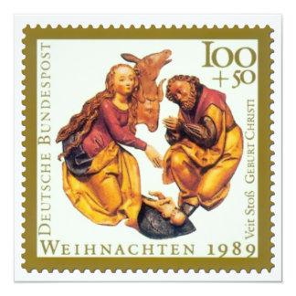 """Tarjeta de Navidad alemana del sello: Maria y José Invitación 5.25"""" X 5.25"""""""