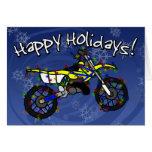 Tarjeta de Navidad amarilla de la bici de la sucie