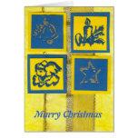 tarjeta de Navidad amarillo-azul de los ekos