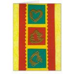 tarjeta de Navidad amarillo-roja de los ekos