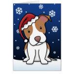 Tarjeta de Navidad americana de Terrier de pitbull