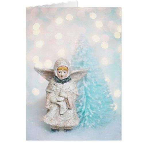 Tarjeta de Navidad, ángel y árbol del cepillo de b