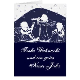 Tarjeta de navidad: Ángeles musizieren azul
