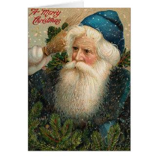 Tarjeta de Navidad antigua de Santa