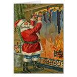 Tarjeta de Navidad antigua de Santa del vintage