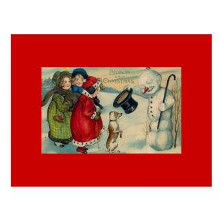Tarjeta de Navidad antigua en la postal roja del f