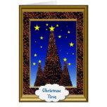 Tarjeta de Navidad, árboles de navidad en la noche