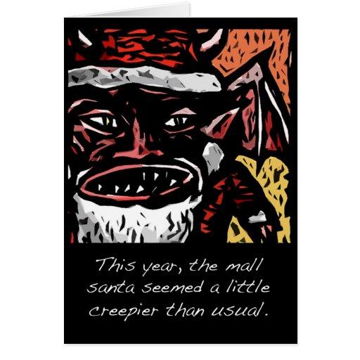 Tarjeta de Navidad asustadiza de Santa de la alame