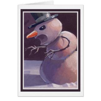 Tarjeta de Navidad asustadiza del muñeco de nieve