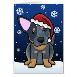Tarjeta de Navidad azul de Kawaii Heeler