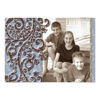 """Tarjeta de Navidad azul de la foto de la chispa de Invitación 5"""" X 7"""""""