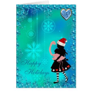 Tarjeta de Navidad azul de las lentejuelas de