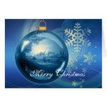 Tarjeta de Navidad azul de los copos de nieve de l