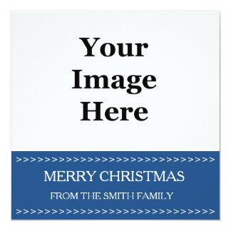 """tarjeta de Navidad azul del cuadrado de la foto. Invitación 5.25"""" X 5.25"""""""