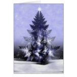 Tarjeta de Navidad azul del fractal del árbol de Y